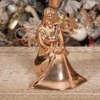 Rose Gold Ceramic Angel Ornament Christmas Decoration.  Perfect for a Rose Gold Copper Christmas Theme.